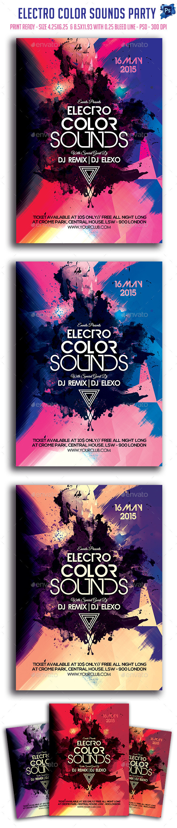 GraphicRiver Electro Color Sounds Party Flyer 11589947