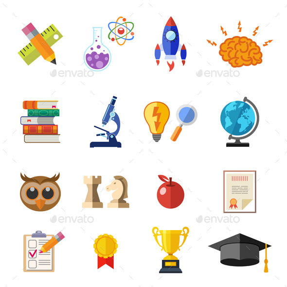 GraphicRiver Online Education Flat Icon Set 11590090