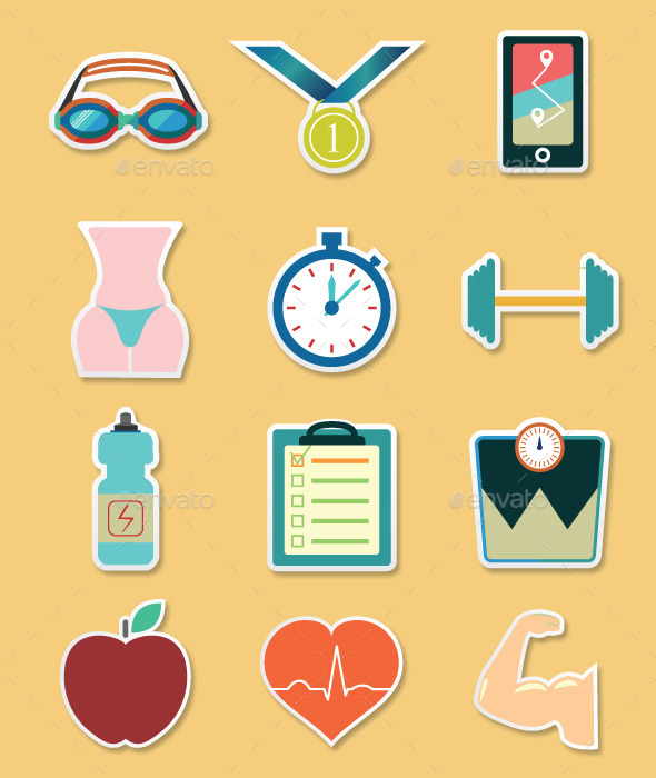 GraphicRiver Fitness sticker icons set 11590158