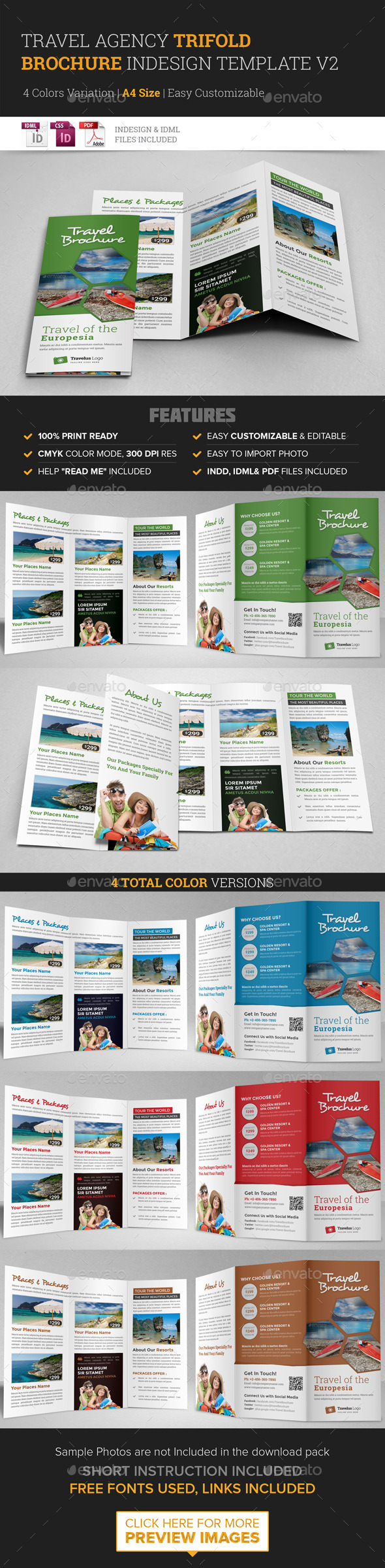 GraphicRiver Travel Trifold Brochure InDesign Template v2 11590161