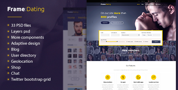 ThemeForest Frame Dating Social Dating Network PSD 11590371