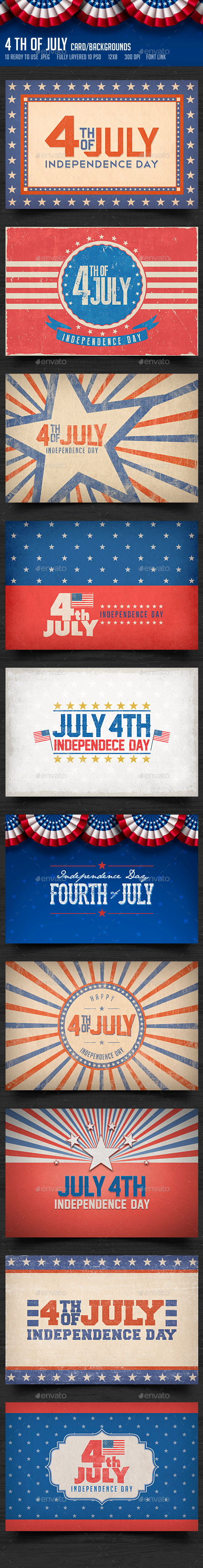 GraphicRiver July 4th Backgrounds Cards 2 11590638