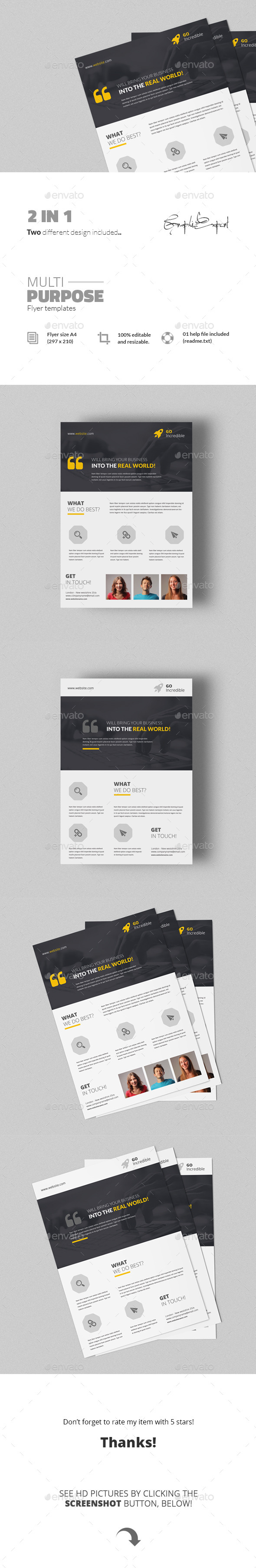 GraphicRiver Multipurpose Flyer Templates 2 in 1 11590943