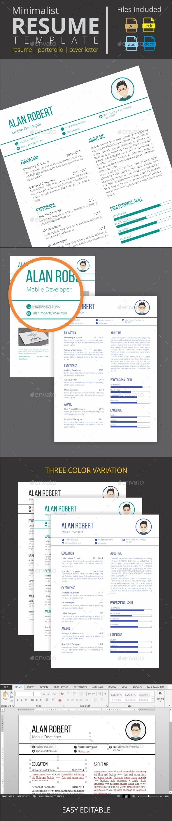 GraphicRiver Minimalist Clean Resume 11266420
