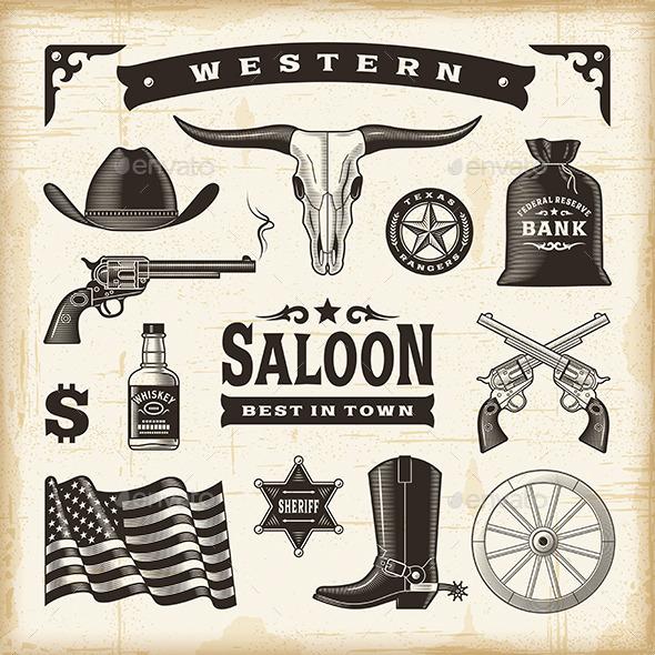 GraphicRiver Vintage Western Set 11591336