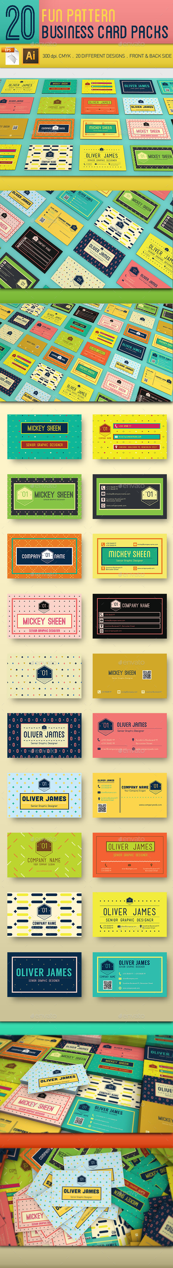 GraphicRiver 20 Fun Pattern Business Cards 11481552