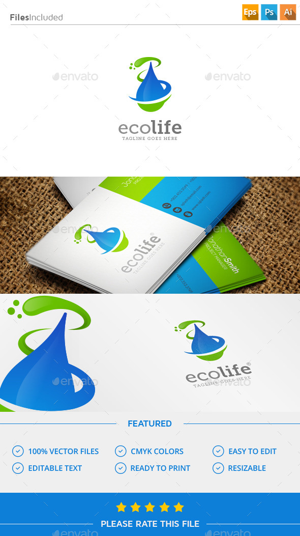 GraphicRiver Water & Leaf Logo 11579476