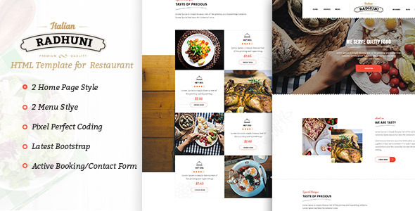 ThemeForest Italian Radhuni Food & Resturant HTML Template 11591930