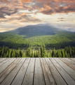 Wooden deck overlooking scenic view of mountains - PhotoDune Item for Sale