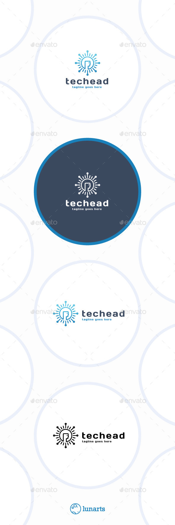 GraphicRiver Tech Head Logo Sun 11592910