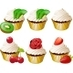 Cupcakes in Golden Cup Set - GraphicRiver Item for Sale