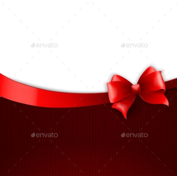 GraphicRiver Invitation Card with Red Holiday Ribbon and Bow 11593395