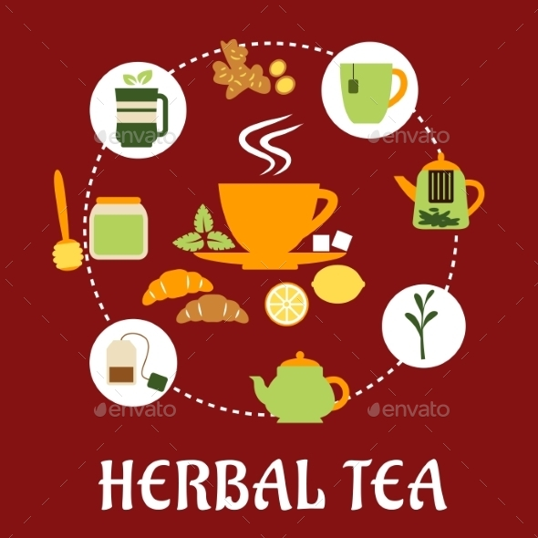 GraphicRiver Herbal Tea Flat Infographic Design with Icons 11595813