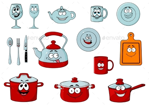 GraphicRiver Cartoon Smiling Kitchenware and Glassware 11595820