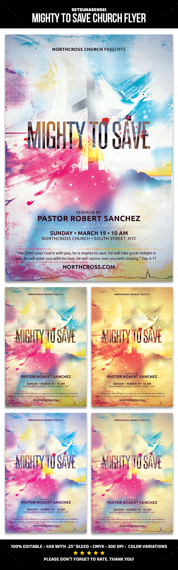 GraphicRiver Mighty to Save Church Flyer 11595855