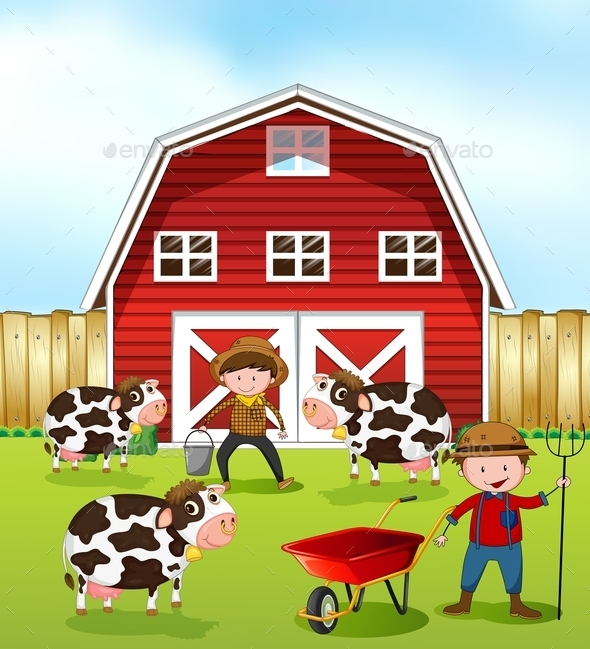 GraphicRiver Farmer and Barn 11595969