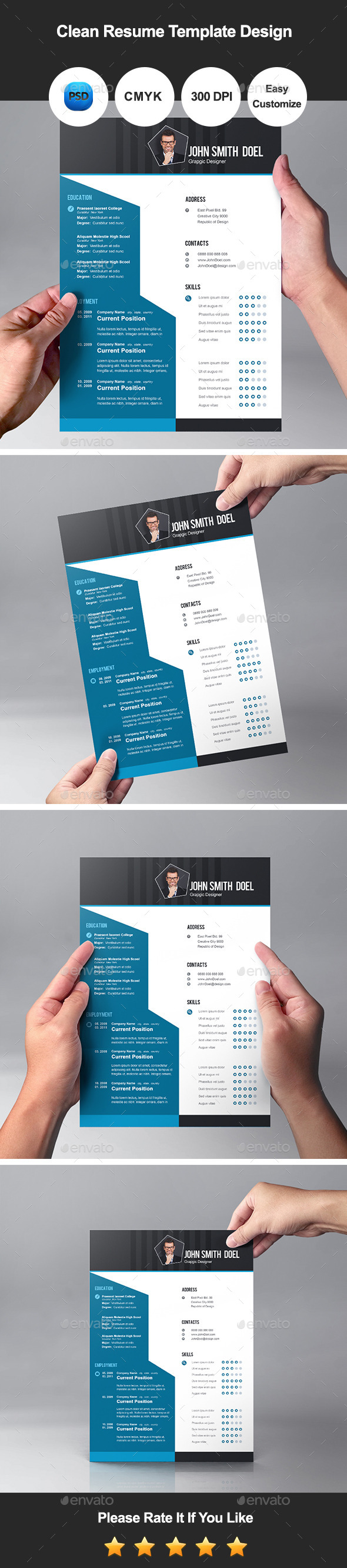 GraphicRiver Clean Resume Template Design 11596095