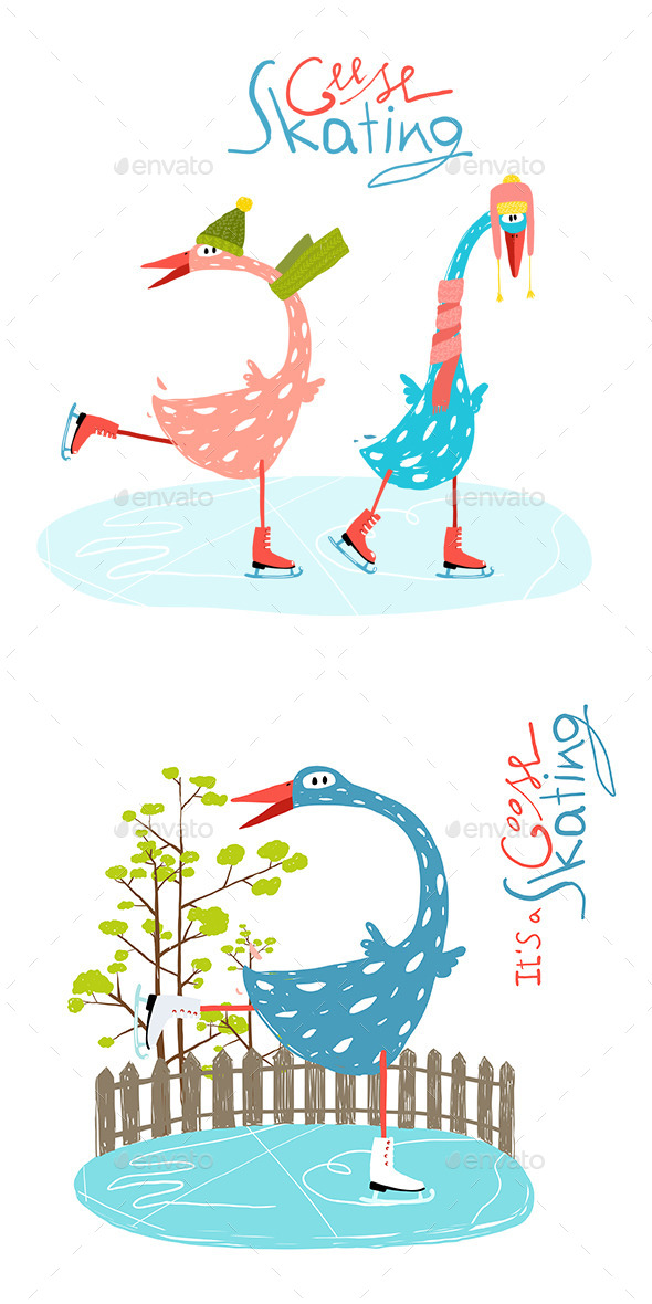 GraphicRiver Cartoon Ice Skating Geese for Kids 11596181