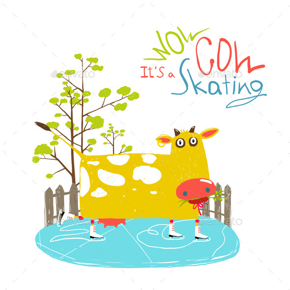 GraphicRiver Fun Cartoon Ice Skating Cow for Kids 11596185