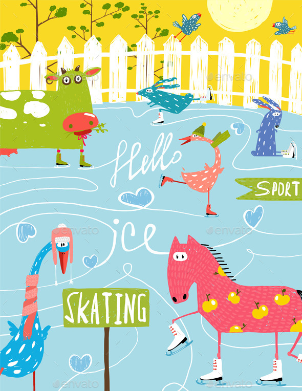 GraphicRiver Cartoon Farm Ice Skating Animals for Kids 11596187