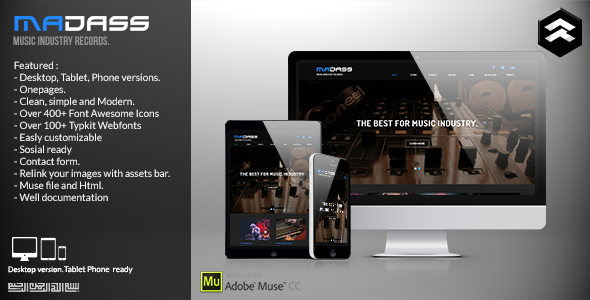 ThemeForest Madass Music Industry Muse Template 11596188