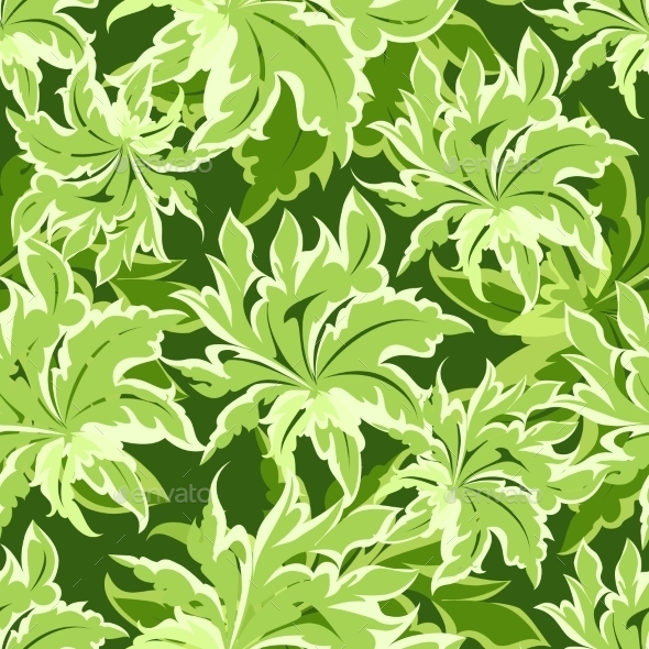 GraphicRiver Green Leaves Pattern 11599055