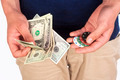 Man Holding Dollar Bills and Casino Chips. - PhotoDune Item for Sale
