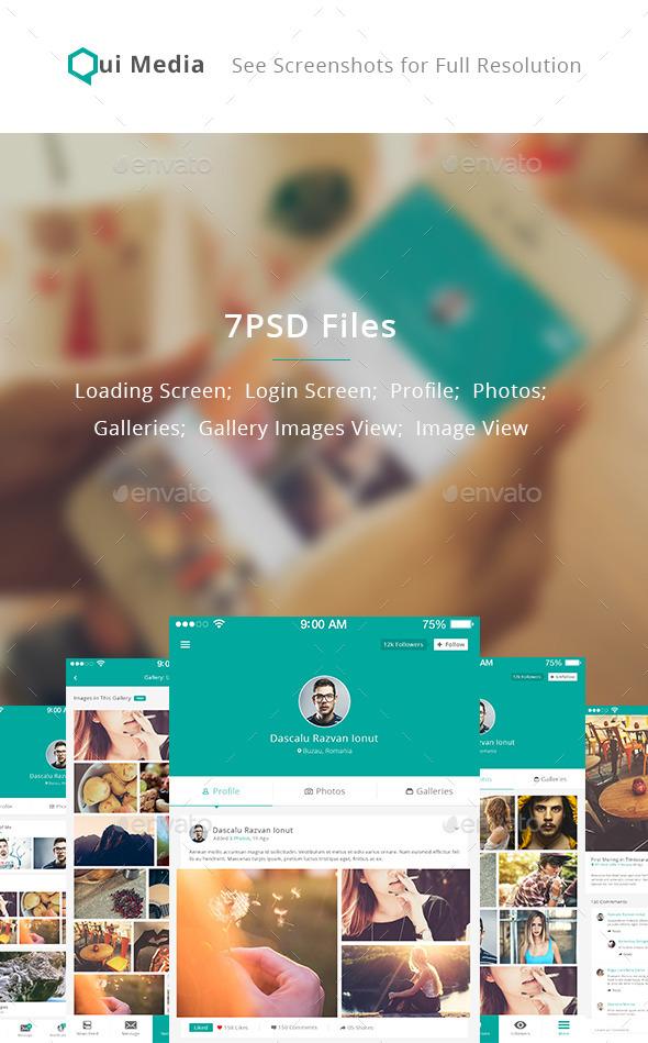 GraphicRiver Qui Media Mini Social Network App UI 11601539