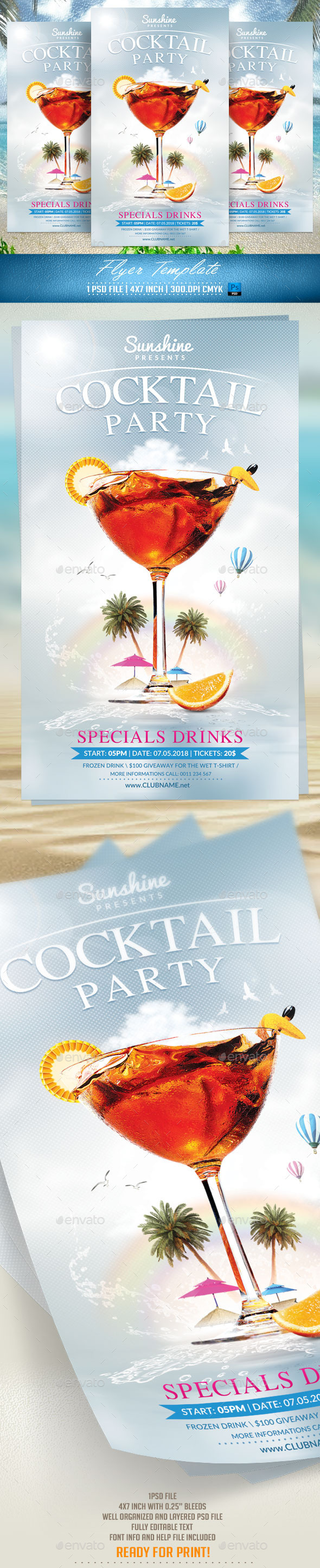 GraphicRiver Cocktail Party Flyer Template v2 11601545