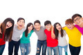 young student group  with arms around each others shoulders - PhotoDune Item for Sale