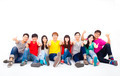 Happy young group sitting together with thumb up - PhotoDune Item for Sale