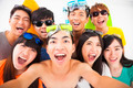 group of smiling friends with camera  taking self photo - PhotoDune Item for Sale