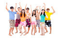 happy young group dancing and enjoy summer vacation - PhotoDune Item for Sale