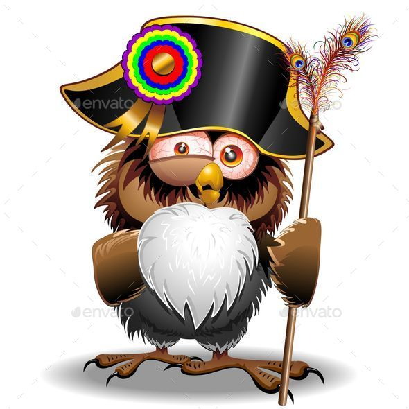 GraphicRiver Crazy Owl Cartoon Bonaparte 11603498
