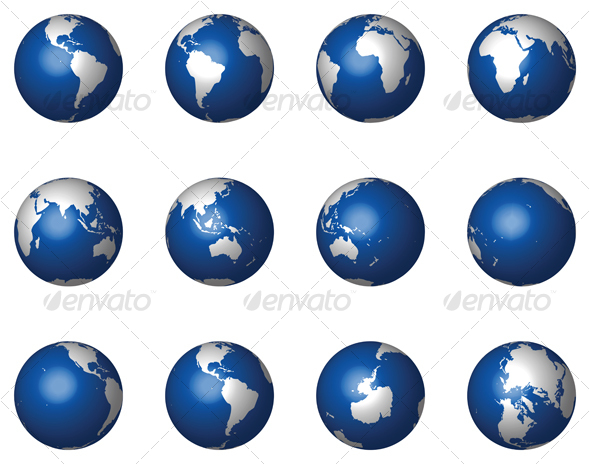 Graphic River 12 Glossy Vector Globes Vectors -  Conceptual  Travel 47175
