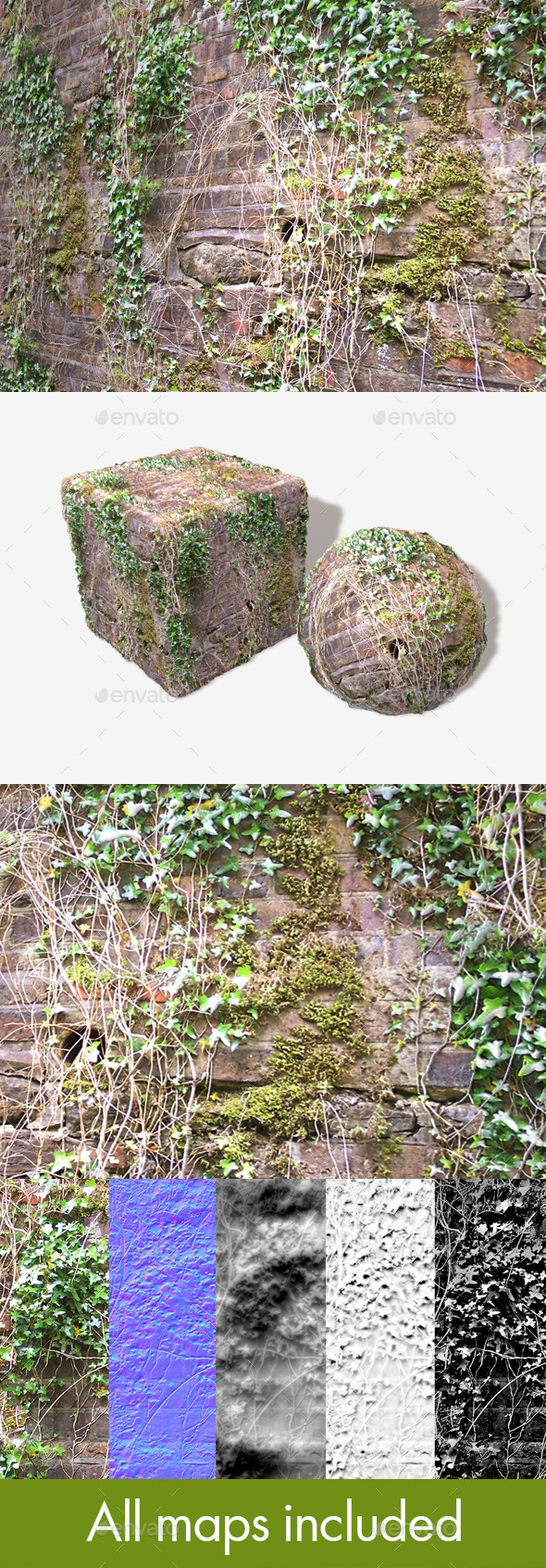 Ivy Vines Wall Seamless Texture - 3DOcean Item for Sale