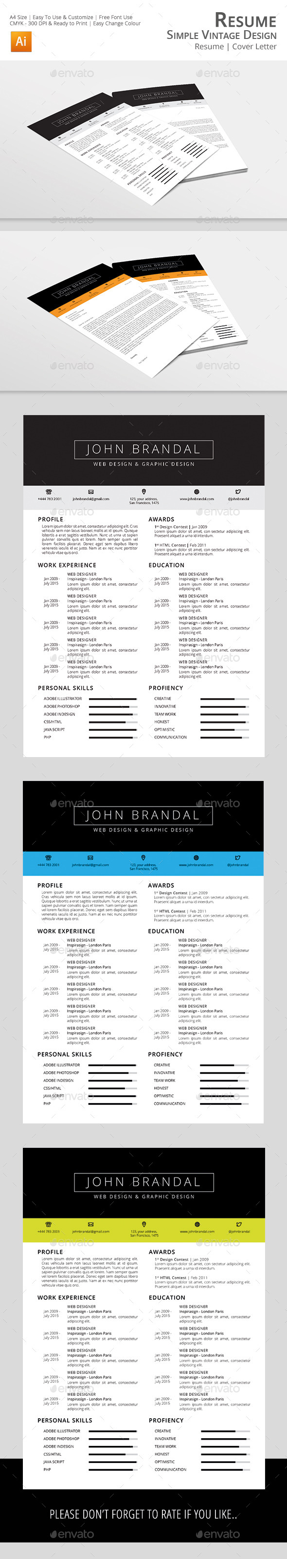 GraphicRiver Resume Simple Vintage Design 11603640