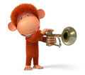 3d monkey blows the trumpet - PhotoDune Item for Sale
