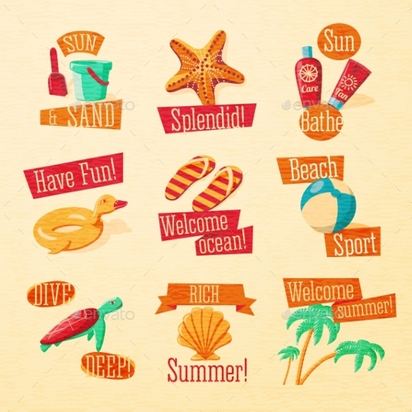 GraphicRiver Set of Cute Bright Summer Icons 11604617