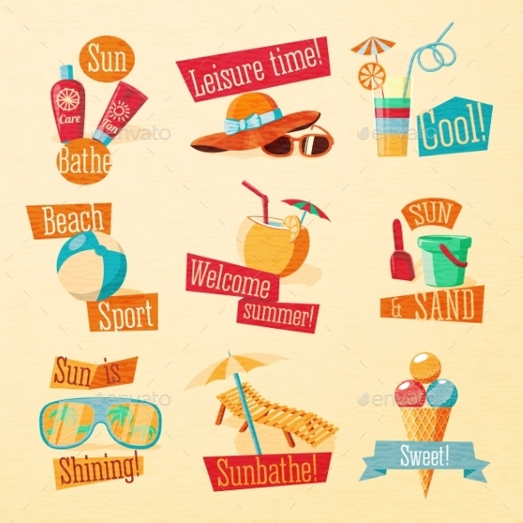 GraphicRiver Summer Icons with Typography 11604620