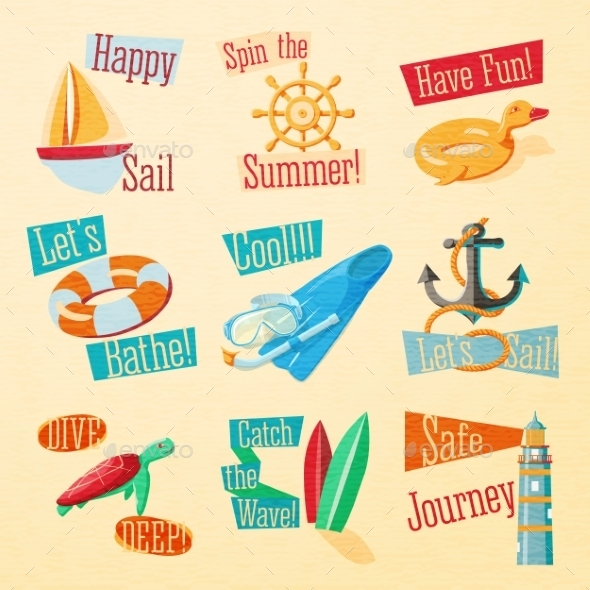 GraphicRiver Summer Icons with Typography 11604631