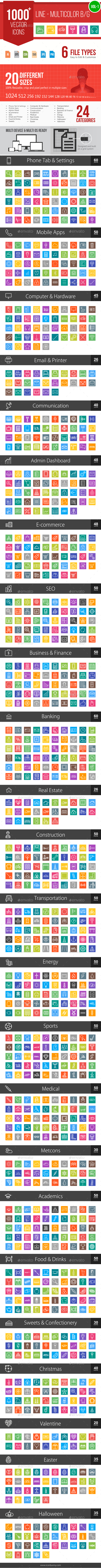 GraphicRiver 1000& Line Multicolor B G Vector Icons 11605195