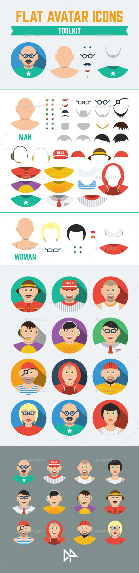 GraphicRiver Flat Users Avatars and Creation Kit 11606810