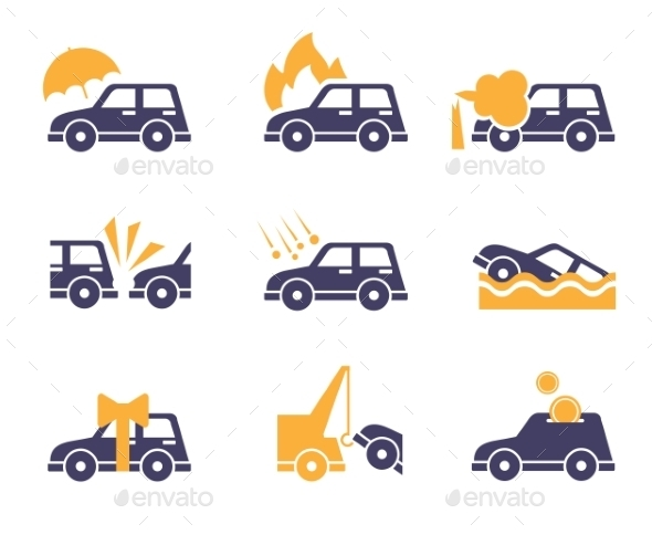 GraphicRiver Car Insurance Icons In Flat Style 11606977