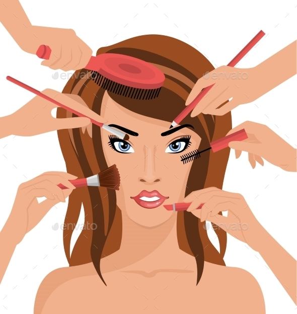 GraphicRiver Many Hands with Cosmetics Brush Doing Makeup 11606992