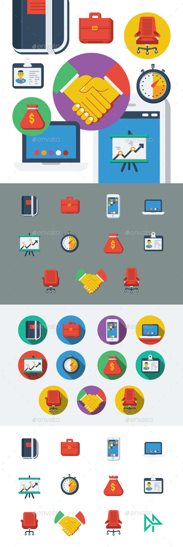 GraphicRiver Business Flat Icons Set 11607064