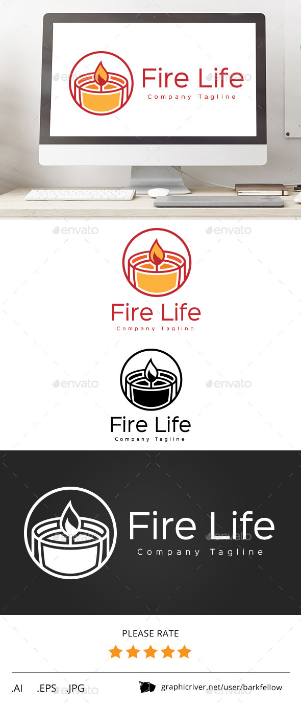 GraphicRiver Fire Candle Life Logo 11607247