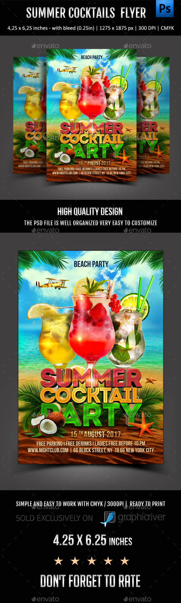 GraphicRiver Summer Cocktails Party Flyer 11607284