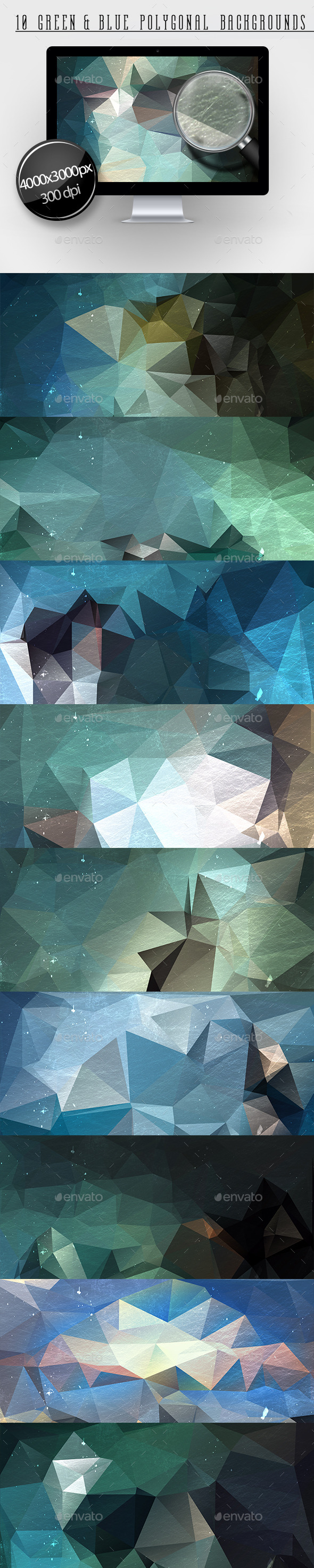 GraphicRiver 10 Green & Blue Polygonal Backgrounds 11608048