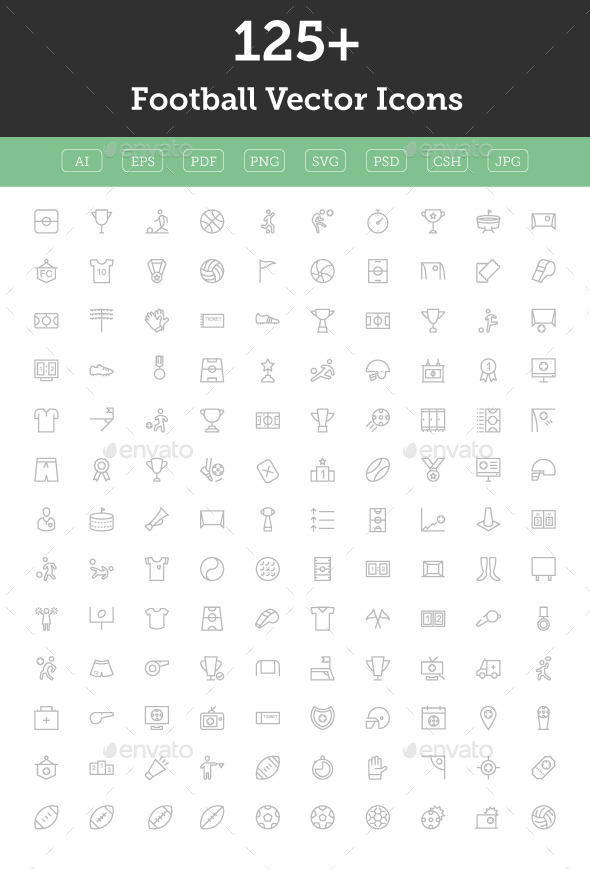 GraphicRiver 125& Football Vector Icons 11608184